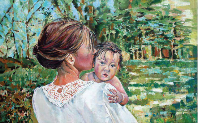"Entrust, Mother & Baby, Acrylic on Canvas, Portrait, 32"" x 40"""