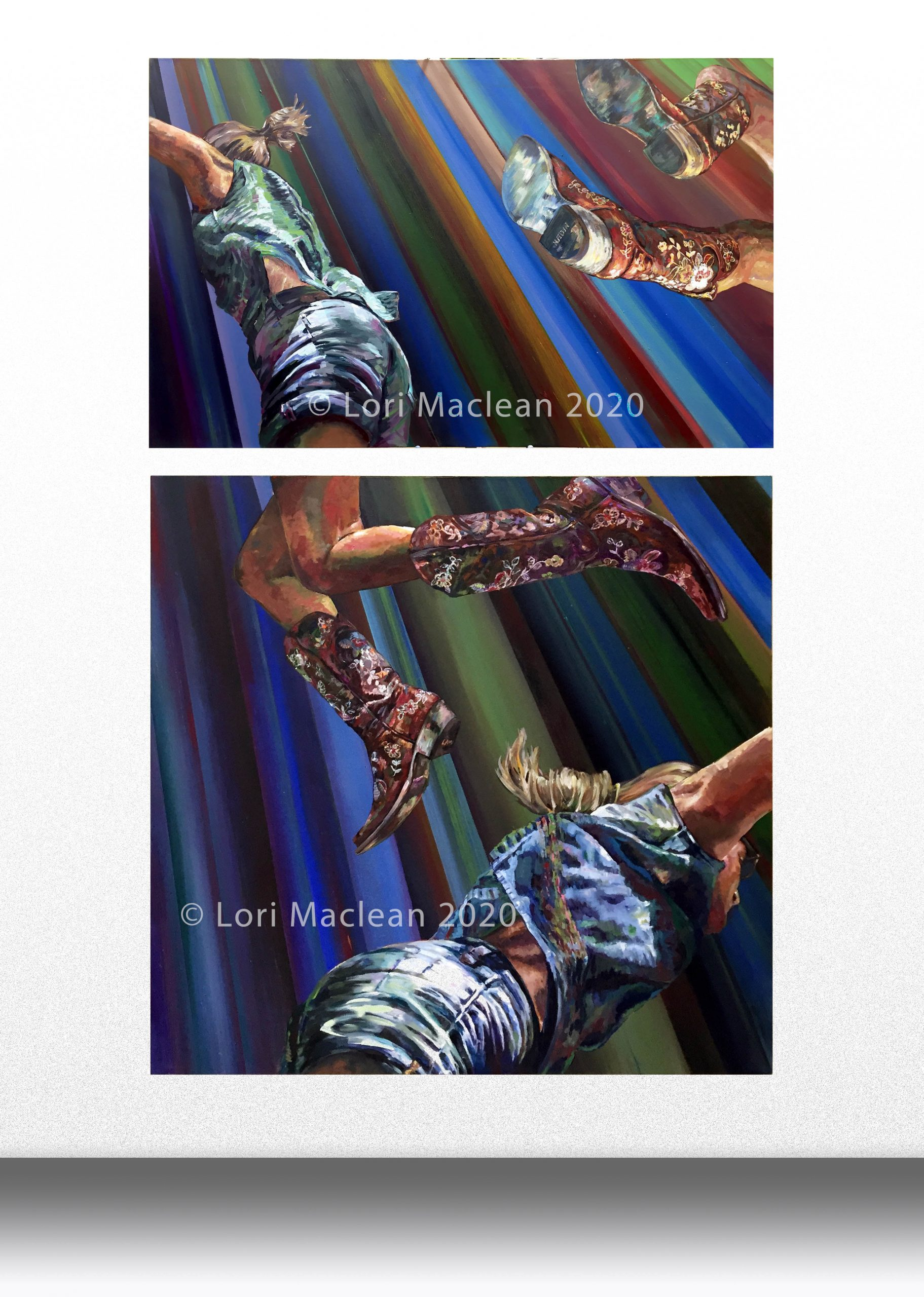 Acrylic on Canvas, fine art painting, figurative, abstract, jumping, action, modern, cowboy, boots, detailed