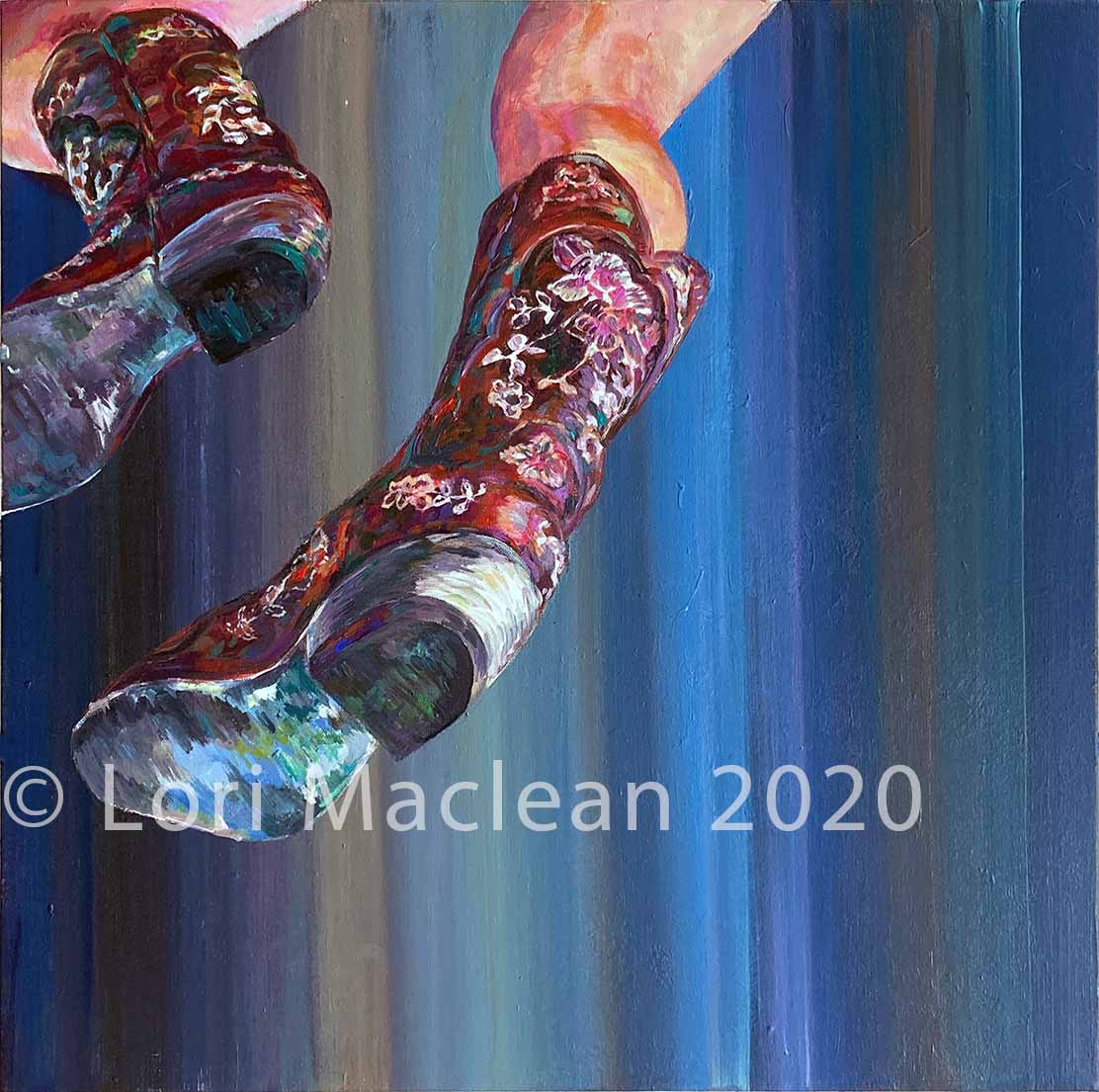 Acrylic on Canvas, fine art painting,realism, figurative, abstract, action, modern, cowboy, boots, detailed